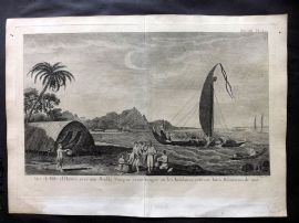 Cook's Voyages 1785 Antique Print. Natives & Boat at Society Islands, Pacific